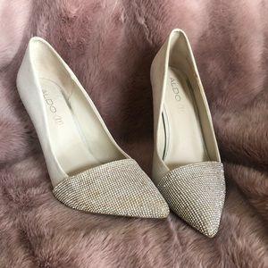 Sparkly silver Aldo heels size 10